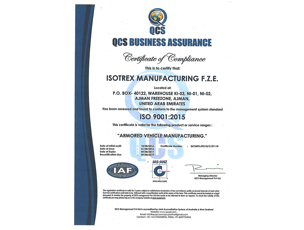 Isotrex ISO certificate
